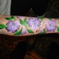 Purple pansies on arm